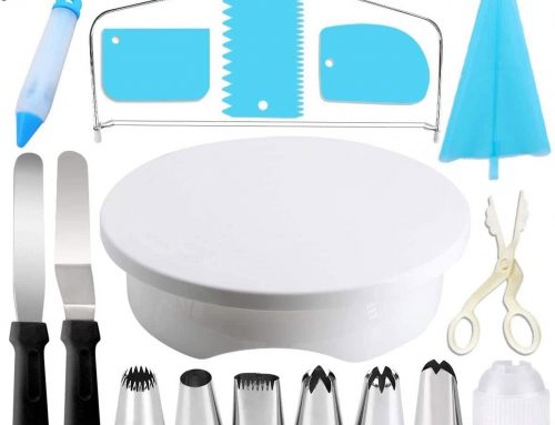 Cake Turntable Set, Gyvazla Rotating Turntable Stand, Big Piping nozzles, Icing Smoother, Icing Spatula, Reusable Pastry Bag, Cake Pen Syringe, Coupler, Brush, Plastic Scissors, for Cake Decorating